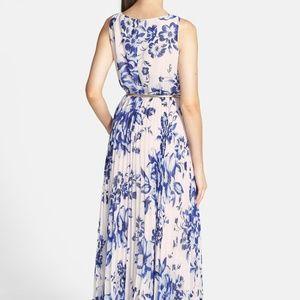 Eliza J Print Pleat Chiffon Maxi Dress, Size 2